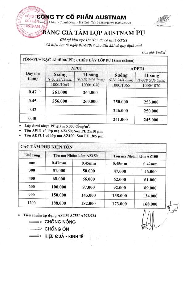 Bảng giá tấm lợp cách nhiệt AUSTNAM