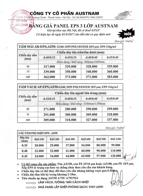 Bảng giá Panel EPS 3 lớp AUSTNAM
