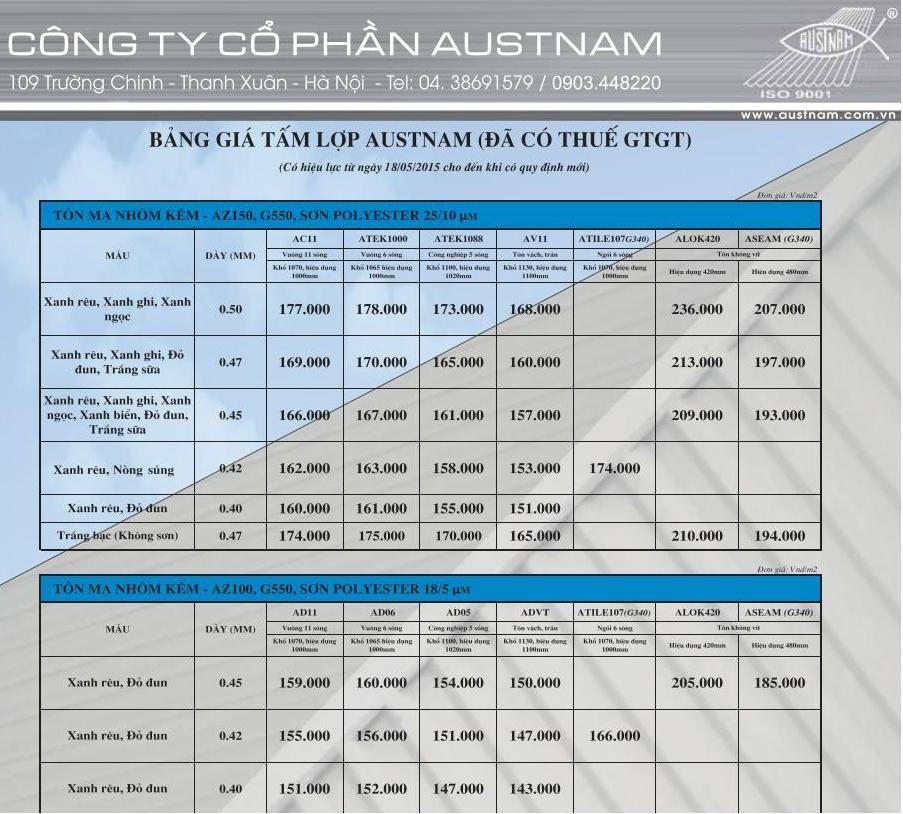 Austnam Price List
